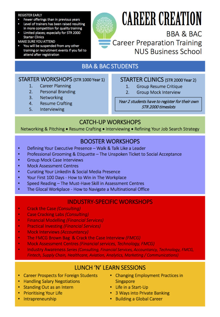 Changes to Career Preparation Training at NUS Business School