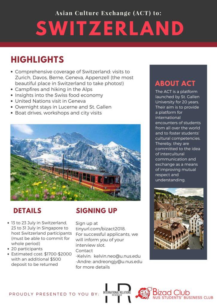 Asian Culture Exchange to Switzerland